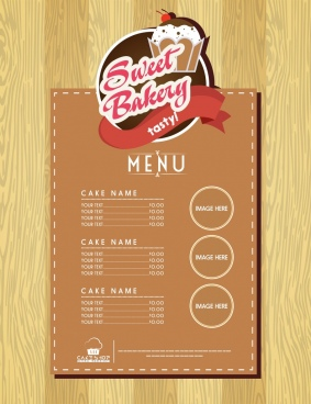 bakery menu template classical brown design cake logo