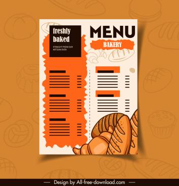bakery menu template classical handdrawn sketch