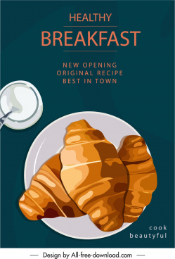bakery opening banner classical flat design bread sketch