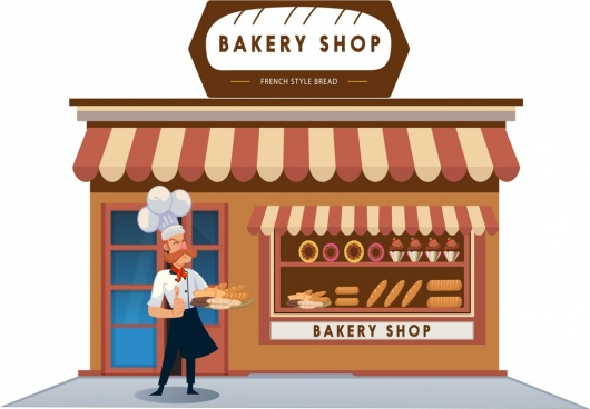 bakery shop advertisement man icon classical cartoon design