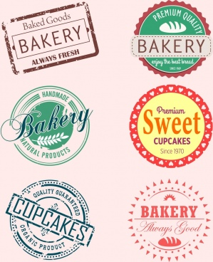 bakery stamps sets classical design various shapes isolation