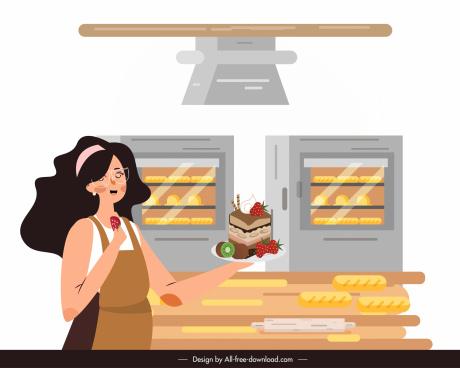 bakery work background lady cook cake icons