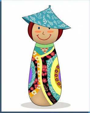 balance doll icon traditional japanese costume style decor