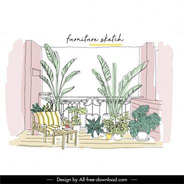 balcony decorative template classical handdrawn sketch