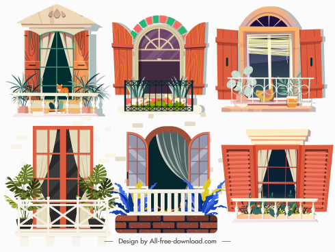 balcony templates colorful modern classic sketch