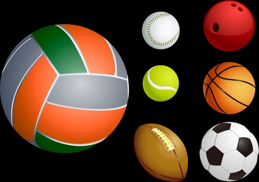 ball icons collection realistic design