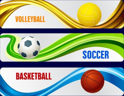 ball sports banners sets volleybal soccer basketball icons
