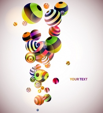 decorative background floating balls icons colorful 3d design