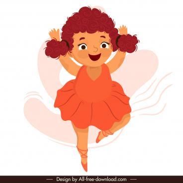 ballerina icon cute girl sketch cartoon character design