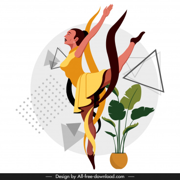 ballerina icon dancing gesture cartoon character