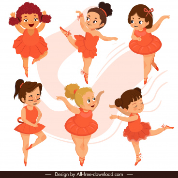 ballerina icons cute girl sketch cartoon characters