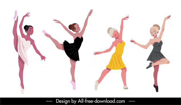 ballerina icons dynamic cartoon characters sketch
