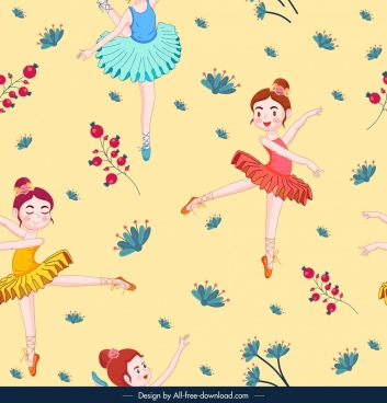 ballerina pattern cute dancing girl decor cartoon sketch