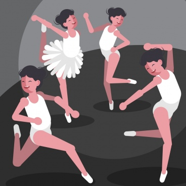 ballet background female dancer icons cartoon characters