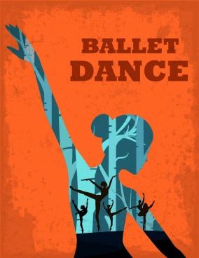 ballet dance poster dancers silhouette decoration retro style