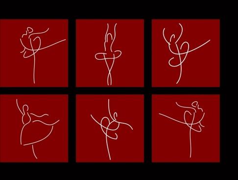 ballet dancer design element curved lines pictogram style