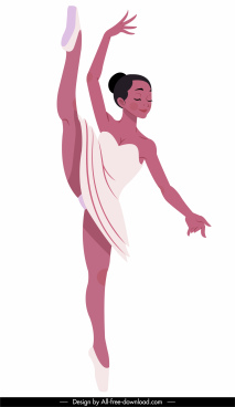 ballet dancer icon cartoon character sketch dynamic design