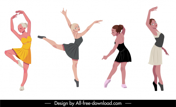 ballet dancer icons beautiful girls sketch dyanmic cartoon