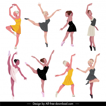 ballet dancer icons dynamic sketch cartoon character sketch