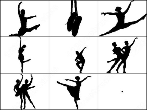 ballet dancer silhouettes brush