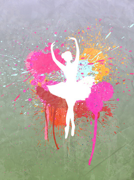 ballet girl silhouette in grunge background