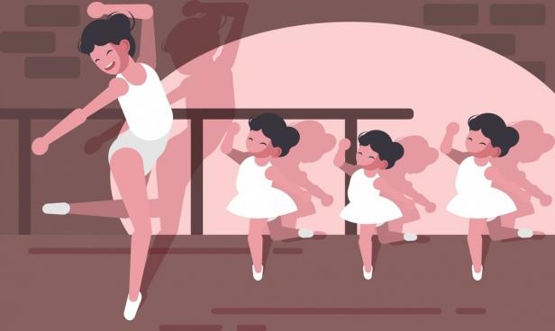 ballet painting female dancers kids icons decor cartoon design