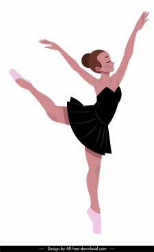 ballet performer icon pretty girl sketch dynamic design