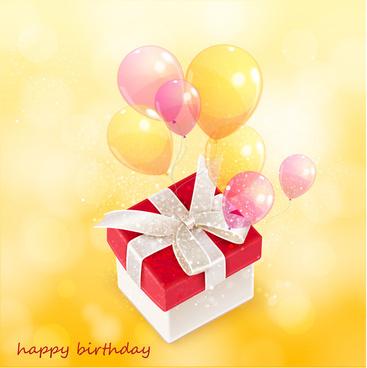 balloon and gift happy birthday
