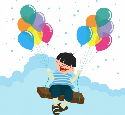 balloon background design smiling kid decoration
