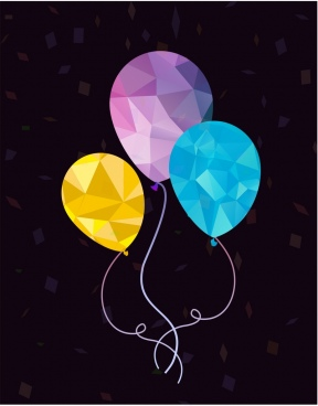 balloon background polygonal design blue violet yellow design