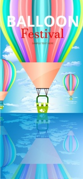 balloon festival banner colorful flying objects decoration