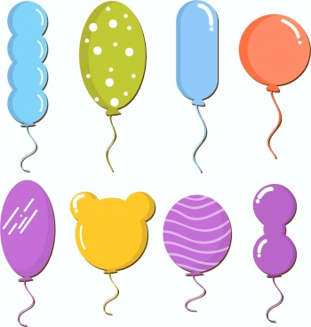 balloon icons collection various colorful shapes decoration