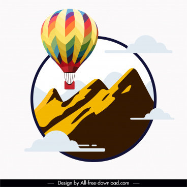 balloon tourism background mountain clouds decor flat sketch