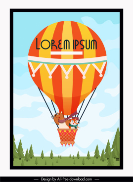 balloon trip background funny stylized cartoon design