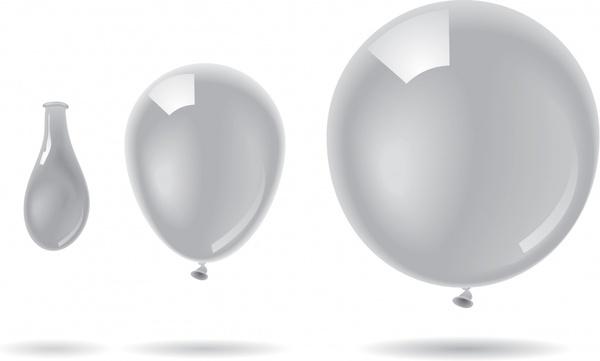 balloon icons bright shiny grey contemporary design