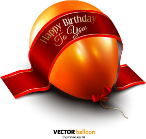 balloon with red ribbon birthday card vector