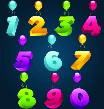 balloons alphabet and numbers design vector
