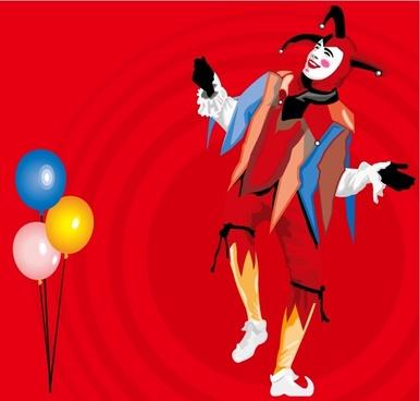 balloons and clown vector