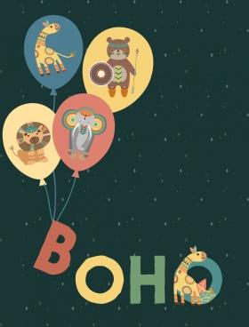 balloons background boho style stylized animals decoration