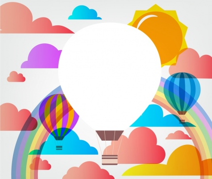 balloons background cloud rainbow sun ornament colorful sketch