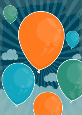 balloons background colorful flat design retro rays decoration