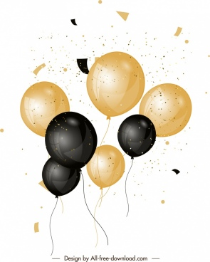 balloons background shiny black yellow design