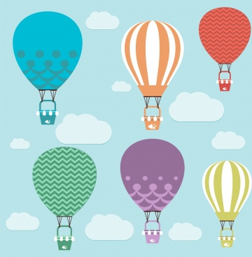 balloons flying theme various colorful types design