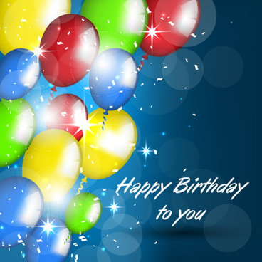 balloons with confetti happy birthday cards vector