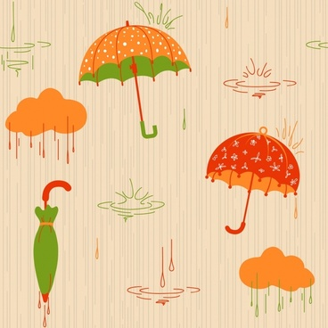 weather background umbrella clouds droplets icons classical design