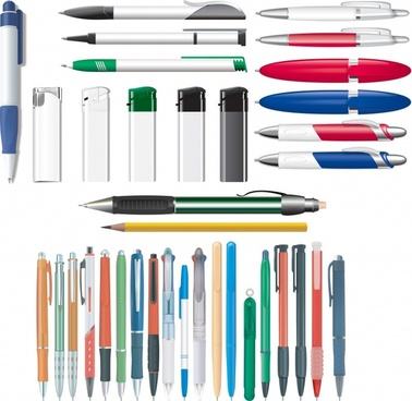 stationery background pen lighter pencil icons colored realistic
