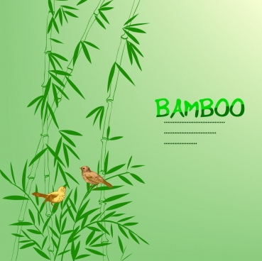 bamboo background green handdrawn icon bird decor
