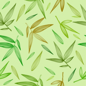 bamboo leaves background green repeating handdrawn icons