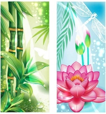 bamboo with flowers banners vectors