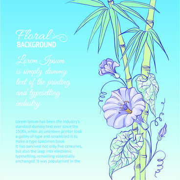 bamboo with flowers vector background